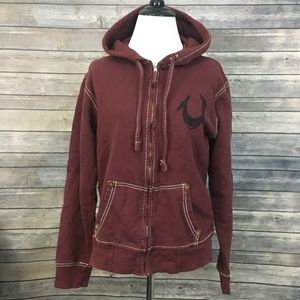 True Religion Classic Hoodie In Burgundy